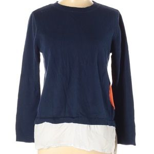 Lisa Todd Designer Navy Blue Two Layer Sweater